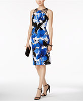 Connected Petite Floral-Print Strappy Sheath Dress