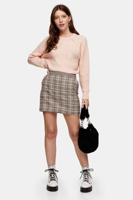 Topshop Womens Brown Check Mini Skirt - Brown