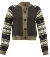 Ganni Fair Isle Wool-blend Cardigan - Womens - Khaki Multi