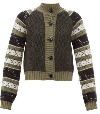 Ganni Fair Isle Wool-blend Cardigan - Womens - Khaki Multi