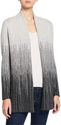 Neiman Marcus Jacquard Striped Open-Front Cashmere Cardigan