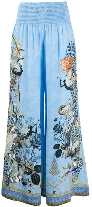 Camilla Floral Embroidered Silk Trousers