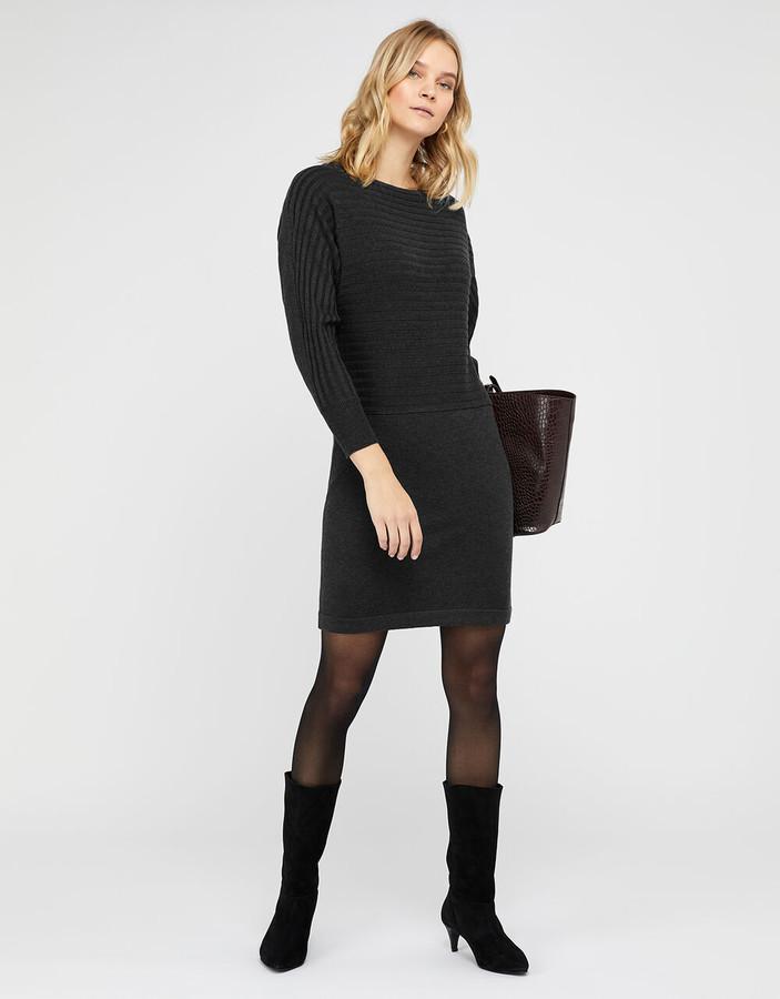 Monsoon Amy Knit Dress Grey