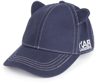 Karl Lagerfeld Paris Cat Ear Denim Baseball Cap