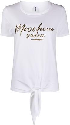 Moschino logo-print knot-detail T-shirt