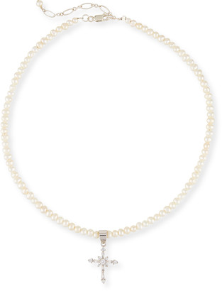 Helena Girls' Pearl Necklace w/ Silver Cross