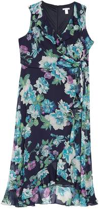 London Times Floral Print Ruffle Hem Chiffon Maxi Dress (Plus Size)