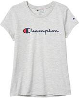 Champion Kids Classic Script Short Sleeve Tee (Big Kids) (Oxford Heather) Girl's T Shirt