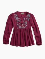 Lucky Brand Peasant Top W/ Floral Emb