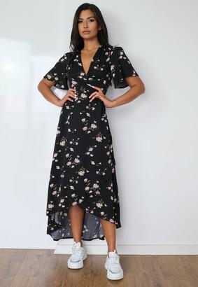 Missguided Black Floral Print High Low Wrap Midi Dress