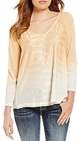 Miss Me Embroidered Ombre Knit 3/4 Sleeve Graphic Top