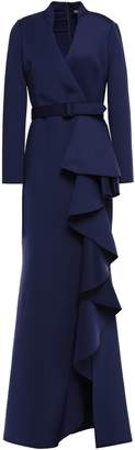 Badgley Mischka Belted Ruffled Neoprene Gown