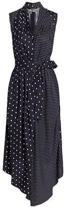ADAM by Adam Lippes Polka Dot Sleeveless Silk Asymmetric Shirtdress