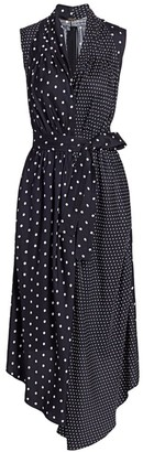 Adam Lippes Polka Dot Sleeveless Silk Asymmetric Shirtdress
