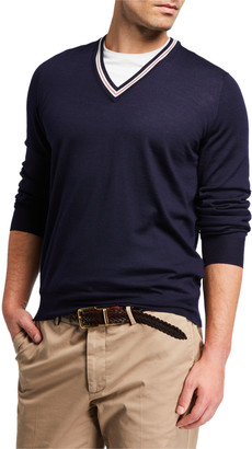 Brunello Cucinelli Men's Solid Tipped V-Neck Sweater