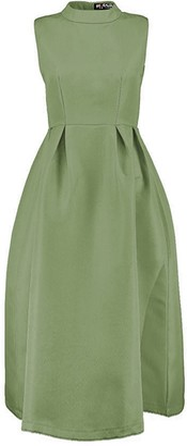 Fashion Star Womens Ladies Sleeveless Polo High Neck Pleated Flared Swing Midi Prom Dress Rose