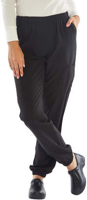 Green Town Scrubs Women's Scrubs Bottoms Black - Black Scrubs Stretch Elastic-Ankle Cargo Pants - Women
