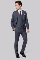 Moss Bros Skinny Fit Sky Grey Check Jacket