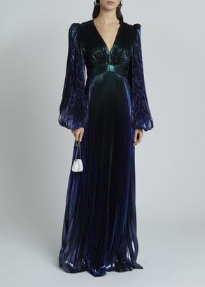 Givenchy Degrade Metallic V-Neck Puff-Sleeve Gown