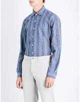 Emmett London Striped Slim-fit Linen And Cotton-blend Shirt