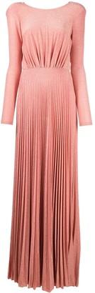 Elisabetta Franchi Pleated Long-Sleeved Slit Dress