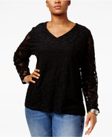 INC International Concepts Plus Size Burnout Illusion Top, Only at Macy's