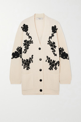 Valentino Lace-paneled Ribbed Wool And Cashmere-blend Cardigan - White
