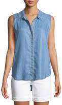NYDJ Indigo Button-Front Sleeveless Blouse
