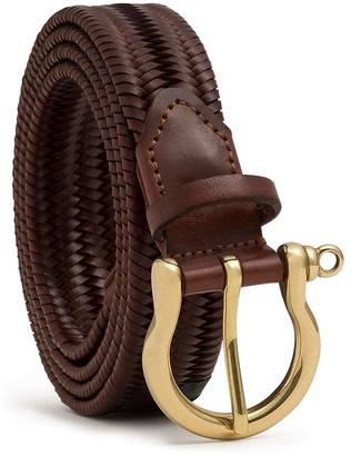 Dalgado Elastic Braided Leather Belt Brown Paola