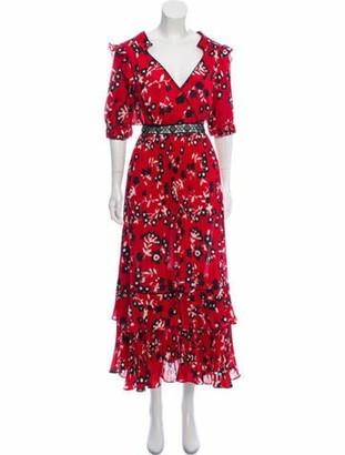Self-Portrait Pleated Maxi Dress w/ Tags Red