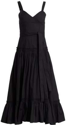 Proenza Schouler Sleeveless Poplin Drop-Waist Midi Dress