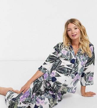 ASOS DESIGN Maternity tropical long sleeve shirt & trouser pyjama set in green & purple