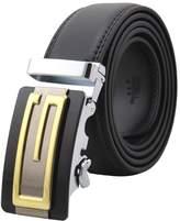 Batedan Mens Genuine Leather Belts Automatic Buckle M Belts Black Waist Strap