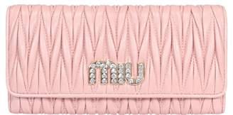 Miu Miu Miu Crystal Matelasse Leather Wallet