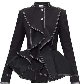 Alexander McQueen Topstitched Peplum-hem Denim Jacket - Womens - Black