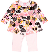 Baby Nay Pink Crazy Hearts Babydoll Top & Ruffle Pants - Infant