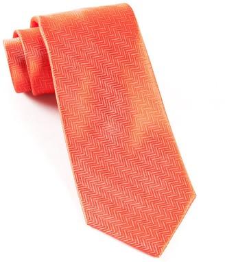 Tie Bar Herringbone Persimmon Red Tie