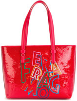 Salvatore Ferragamo slogan tote - women - Cotton/Calf Leather/PVC - One Size
