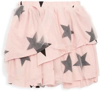 Nununu Little Girl's Star-Print Tulle Overlay Ruffled Skirt
