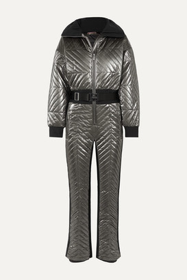 Fusalp Rebecca Metallic Belted Quilted Padded Ski Suit - Silver