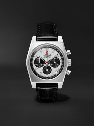 Zenith El Primero A384 Revival Limited Edition Automatic Chronograph 37mm Stainless Steel And Alligator Watch, Ref. No.