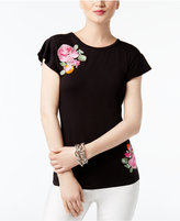 INC International Concepts Embroidered Flutter-Sleeve T-Shirt, Created for Macy's