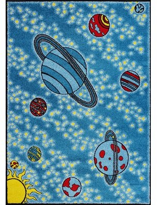 "Zoomie Kids Kindig Universe Blue Area Rug Rug Size: Rectangle 3'11"" x 5'3"""
