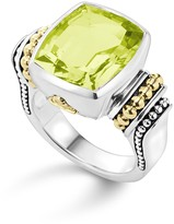 Lagos 18K Gold and Sterling Silver Caviar Color Medium Ring with Green Quartz