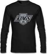 DALJ Tee Adult Awesome Screw Neck Los Angeles Kings Logo Long Sleeve T-Shirt US Size S