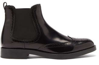 Tod's Brogue-perforated Leather Chelsea Boots - Black
