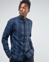 Selected Checked Shirt With Grandad Collar In Regular Fit