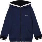 BOSS Logo print zipped cotton-blend hoody 4-16 years