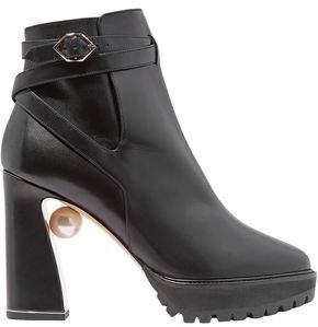 Nicholas Kirkwood Faux Pearl-embellished Leather Platform Ankle Boots