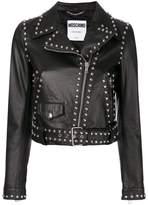 Moschino studded pebbled biker jacket